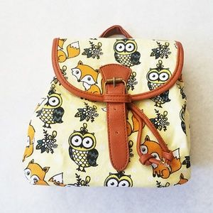 Handbags - Fox and Owl Print Yellow Canvas Mini Backpack